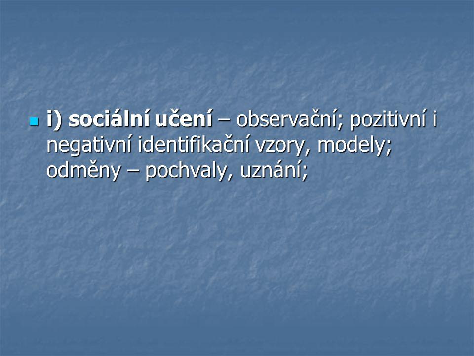 i) sociální učení – observační; pozitivní i negativní identifikační vzory, modely; odměny – pochvaly, uznání; i) sociální učení – observační; pozitivn