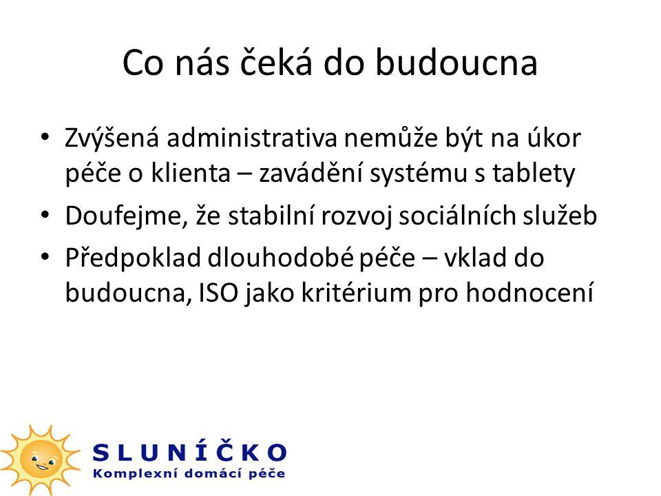 Co nás čeká do budoucna Zvýšená administrativa nemůže být na úkor péče o klienta – zavádění systému s tablety Doufejme, že stabilní rozvoj sociálních služeb Předpoklad dlouhodobé péče – vklad do budoucna, ISO jako kritérium pro hodnocení
