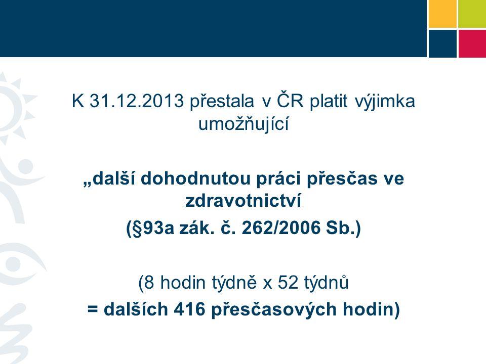 """K 31.12.2013 přestala v ČR platit výjimka umožňující """"další dohodnutou práci přesčas ve zdravotnictví (§93a zák."""
