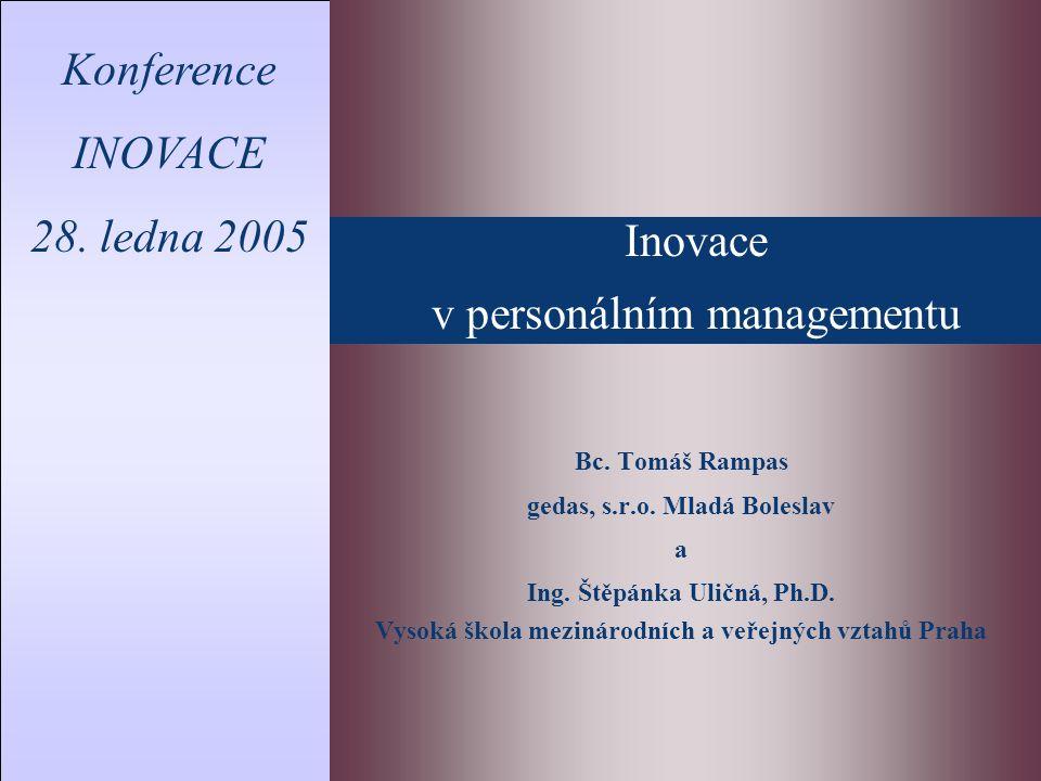Inovace v personálním managementu Konference INOVACE 28.