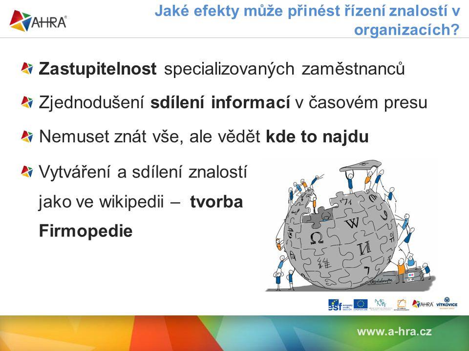 www.a-hra.cz Zastupitelnost specializovaných zaměstnanců Zjednodušení sdílení informací v časovém presu Nemuset znát vše, ale vědět kde to najdu Jaké efekty může přinést řízení znalostí v organizacích.