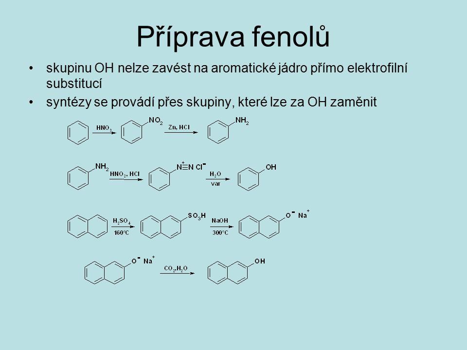 Příprava fenolů skupinu OH nelze zavést na aromatické jádro přímo elektrofilní substitucí syntézy se provádí přes skupiny, které lze za OH zaměnit