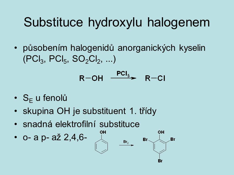 Substituce hydroxylu halogenem působením halogenidů anorganických kyselin (PCl 3, PCl 5, SO 2 Cl 2,...) S E u fenolů skupina OH je substituent 1. tříd