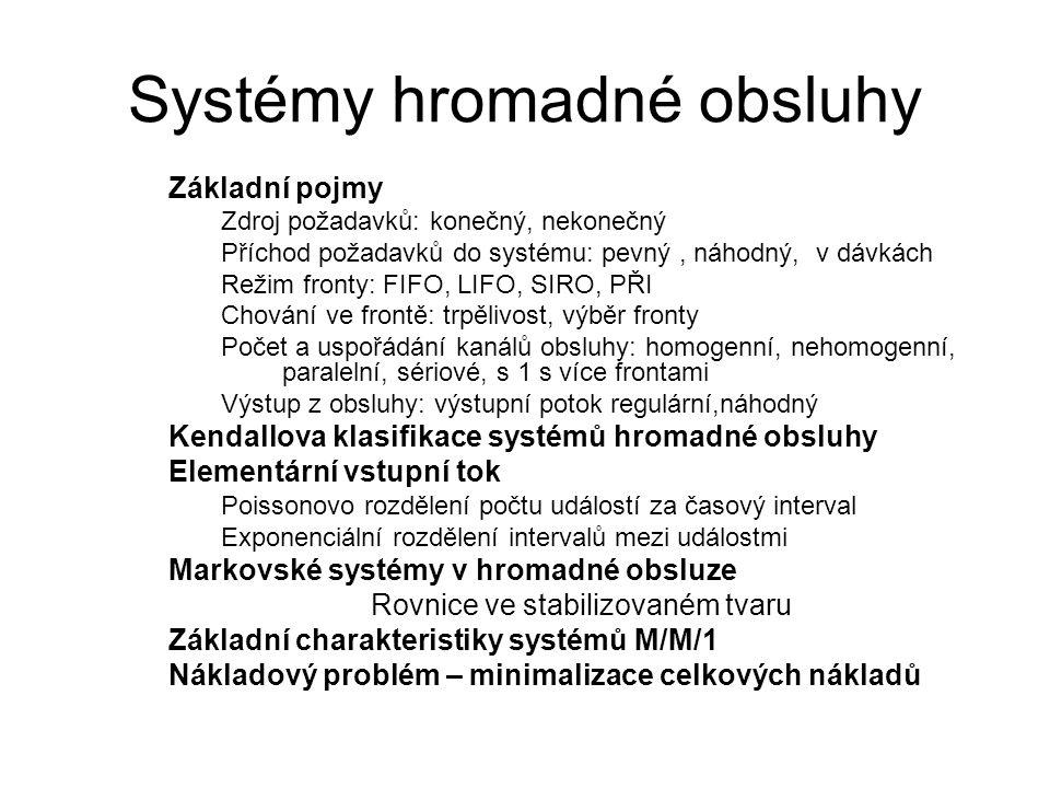 Systémy hromadné obsluhy Základní pojmy Zdroj požadavků: konečný, nekonečný Příchod požadavků do systému: pevný, náhodný, v dávkách Režim fronty: FIFO