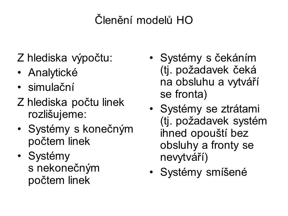 Členění modelů HO Z hlediska výpočtu: Analytické simulační Z hlediska počtu linek rozlišujeme: Systémy s konečným počtem linek Systémy s nekonečným po