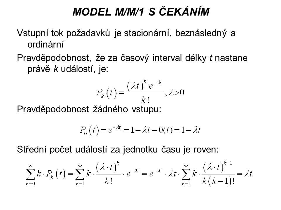 MODEL M/M/1 S ČEKÁNÍM Vstupní tok požadavků je stacionární, beznásledný a ordinární Pravděpodobnost, že za časový interval délky t nastane právě k udá