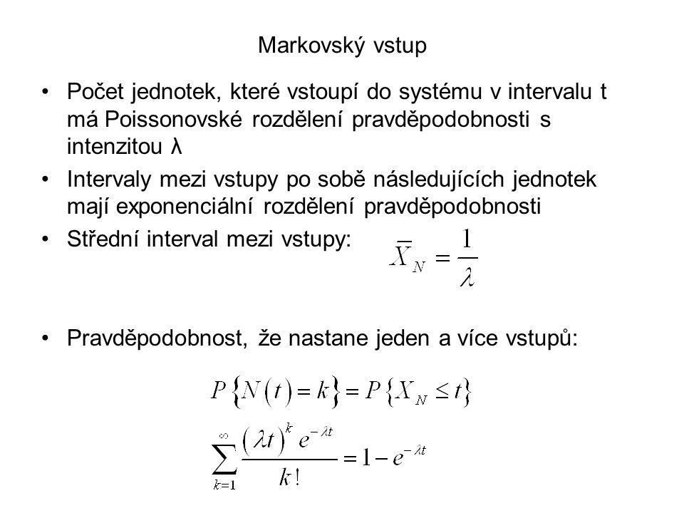 Markovský vstup Počet jednotek, které vstoupí do systému v intervalu t má Poissonovské rozdělení pravděpodobnosti s intenzitou λ Intervaly mezi vstupy