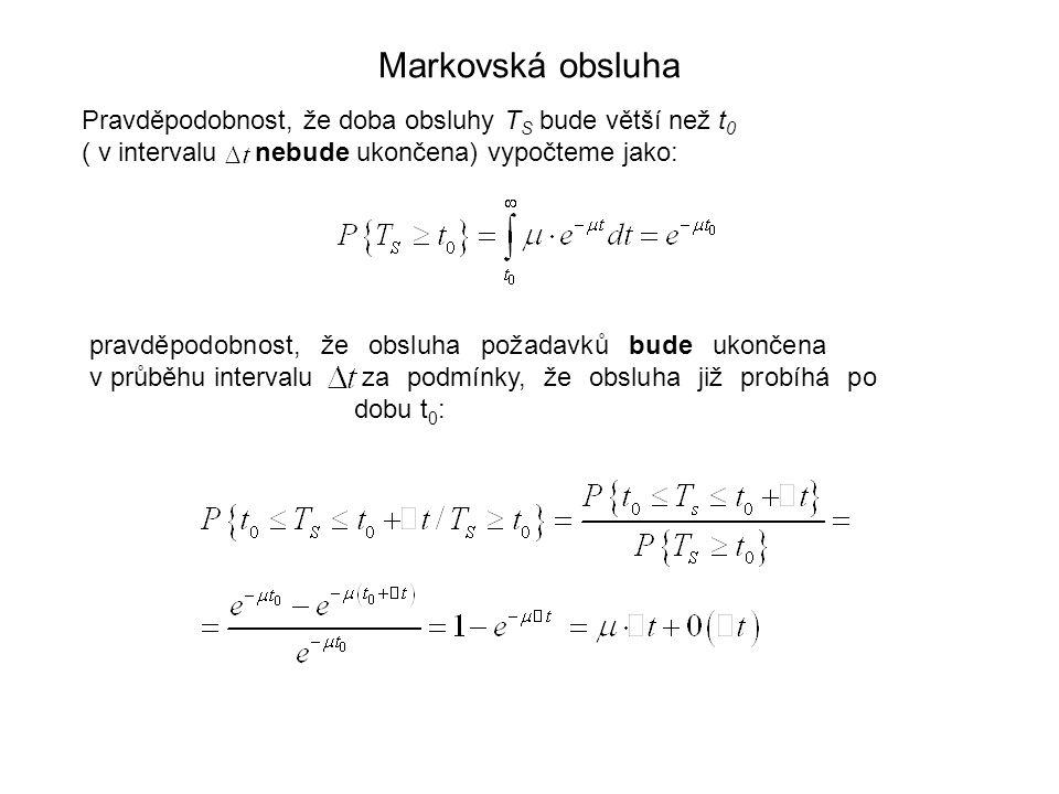 Markovská obsluha Pravděpodobnost, že doba obsluhy T S bude větší než t 0 ( v intervalu nebude ukončena) vypočteme jako: pravděpodobnost, že obsluha p