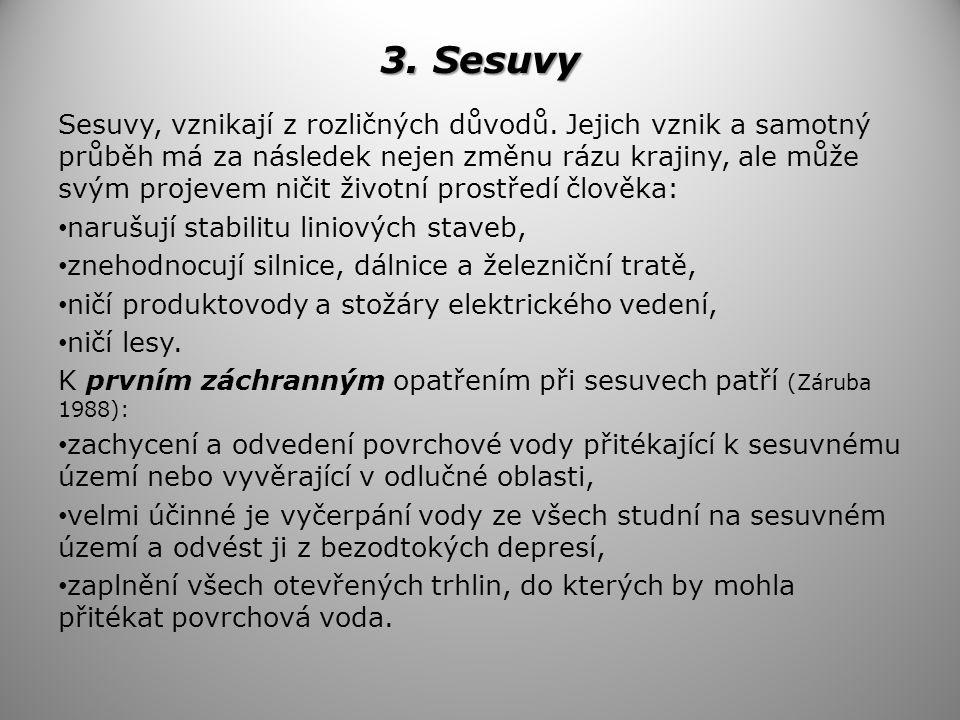 3.Sesuvy Sesuvy, vznikají z rozličných důvodů.