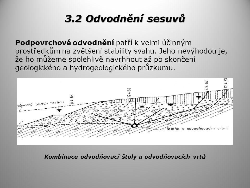 3.2 Odvodnění sesuvů Podpovrchové odvodnění patří k velmi účinným prostředkům na zvětšení stability svahu.