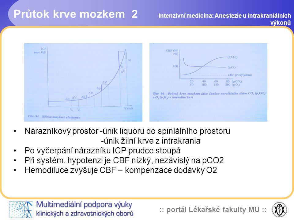 :: portál Lékařské fakulty MU :: Předoperační příprava Všechny výkony jsou subakutní Předoperační zhodnocení: stav vědomí, GCS důležité pro premedikaci vedení anestezie probouzení prognózu Interní vyšetření, kompenzace stavu Doplnění tekutin a iontů Premedikace: dobrá analgosedace + atropin Nevysazovat chronickou medikaci – antiepileptika .