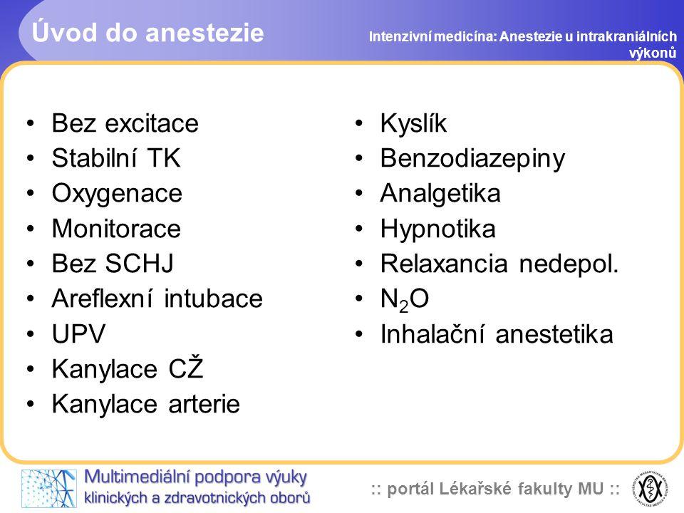 :: portál Lékařské fakulty MU :: Anestetika Intenzivní medicína: Anestezie u intrakraniálních výkonů i.v.