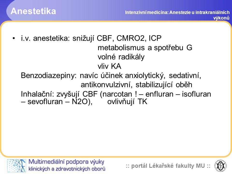 :: portál Lékařské fakulty MU :: Monitorace Intenzivní medicína: Anestezie u intrakraniálních výkonů EKG (výkony v zadní jámě lební) TK invazivní (v úrovni zevního zvukovodu) SpO2 CVP Kapnografie Anestetické plyny (při low flow) Teplota (při řízené hypotermii) Bilance tekutin