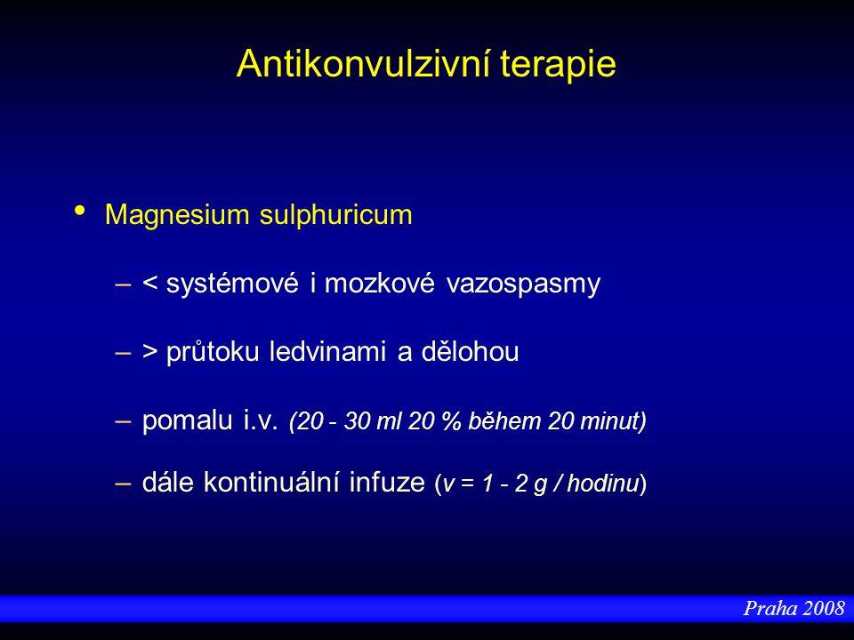 Praha 2008 Antikonvulzivní terapie Magnesium sulphuricum –< systémové i mozkové vazospasmy –> průtoku ledvinami a dělohou –pomalu i.v. (20 - 30 ml 20
