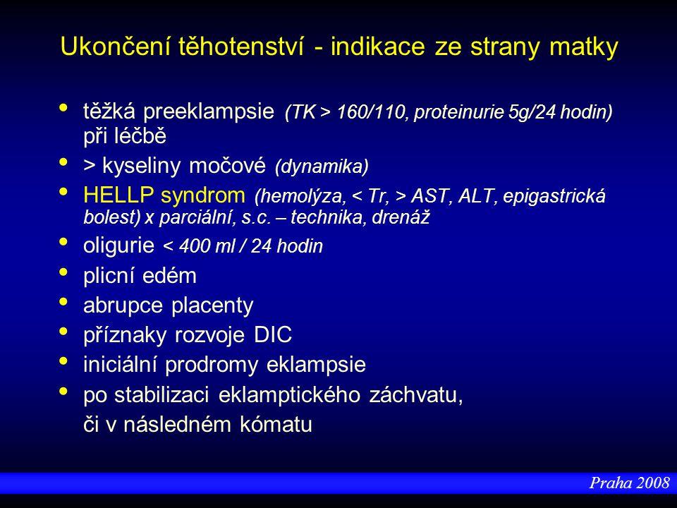 Praha 2008 Ukončení těhotenství - indikace ze strany matky těžká preeklampsie (TK > 160/110, proteinurie 5g/24 hodin) při léčbě > kyseliny močové (dyn