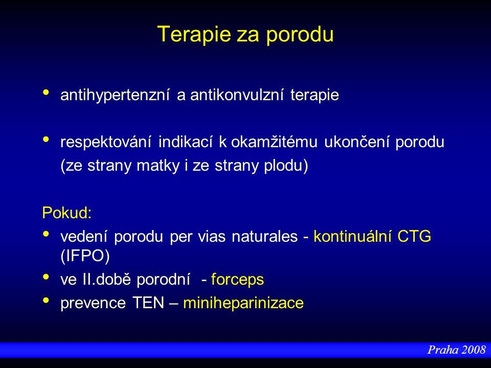 Praha 2008 Terapie za porodu antihypertenzní a antikonvulzní terapie respektování indikací k okamžitému ukončení porodu (ze strany matky i ze strany p