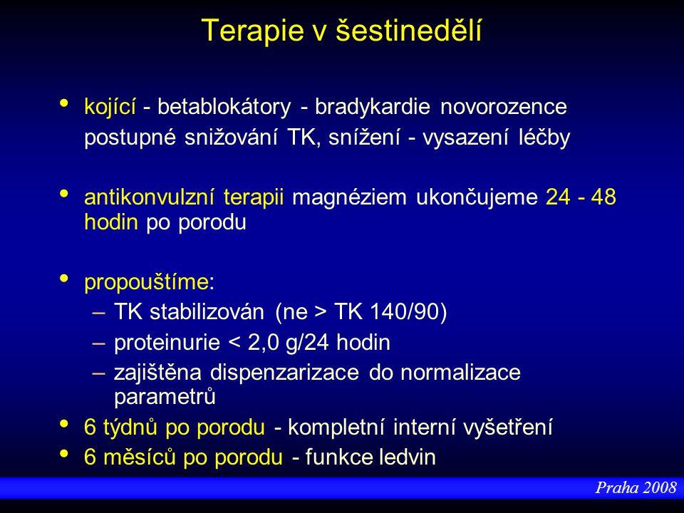 Praha 2008 Terapie v šestinedělí kojící - betablokátory - bradykardie novorozence postupné snižování TK, snížení - vysazení léčby antikonvulzní terapi