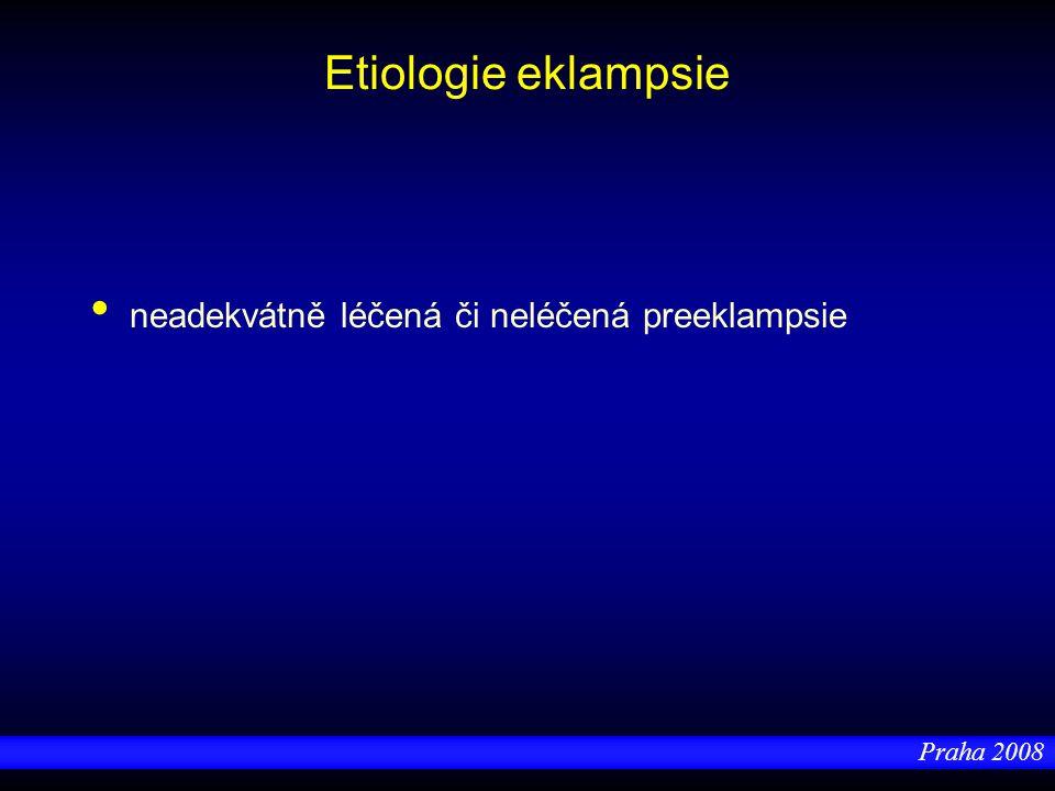 Praha 2008 Etiologie eklampsie neadekvátně léčená či neléčená preeklampsie