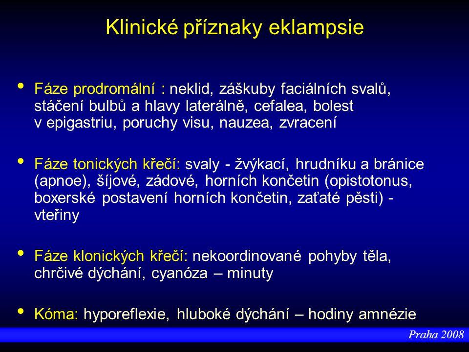 Praha 2008 Klinické příznaky eklampsie Fáze prodromální : neklid, záškuby faciálních svalů, stáčení bulbů a hlavy laterálně, cefalea, bolest v epigast