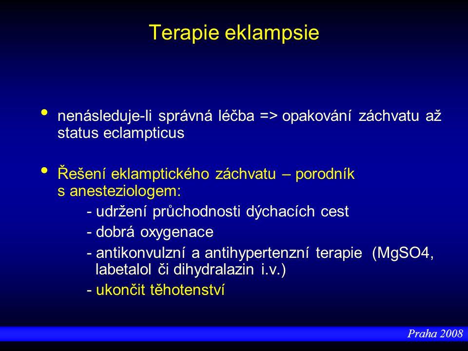 Praha 2008 Terapie eklampsie nenásleduje-li správná léčba => opakování záchvatu až status eclampticus Řešení eklamptického záchvatu – porodník s anest