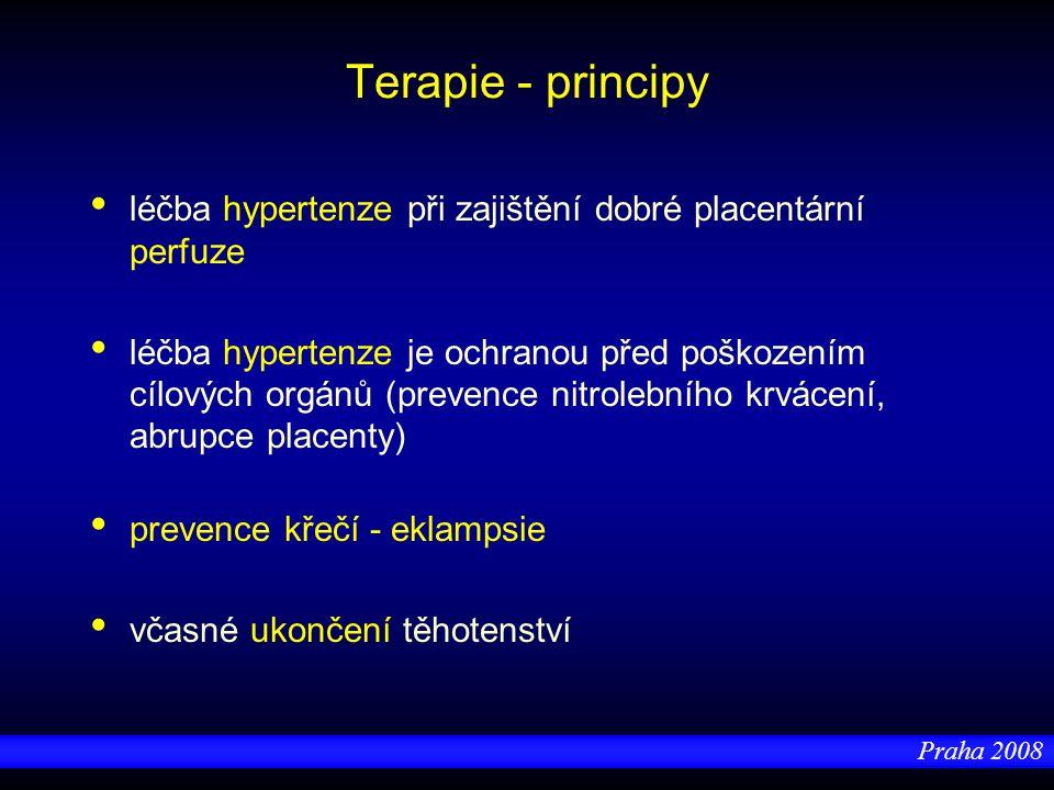 Praha 2008 Antihypertenzní terapie Zahájení terapie při diastole 95 – 100 mm Hg - cíl u lehké hypertenze: diastola 90 mm Hg - cíl u těžké hypertenze: ne < 95 mm Hg - jinak snížení perfuze v uteroplacentárním řečišti => => hypoxie plodu doplnění intravaskulárního objemu - albumin, koloidy, krystaloidy CAVE - akutní edém plic či mozku