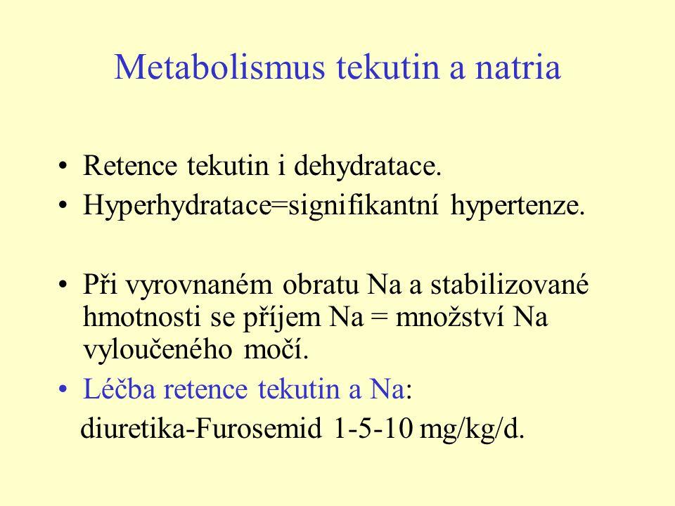 Metabolismus tekutin a natria Retence tekutin i dehydratace. Hyperhydratace=signifikantní hypertenze. Při vyrovnaném obratu Na a stabilizované hmotnos