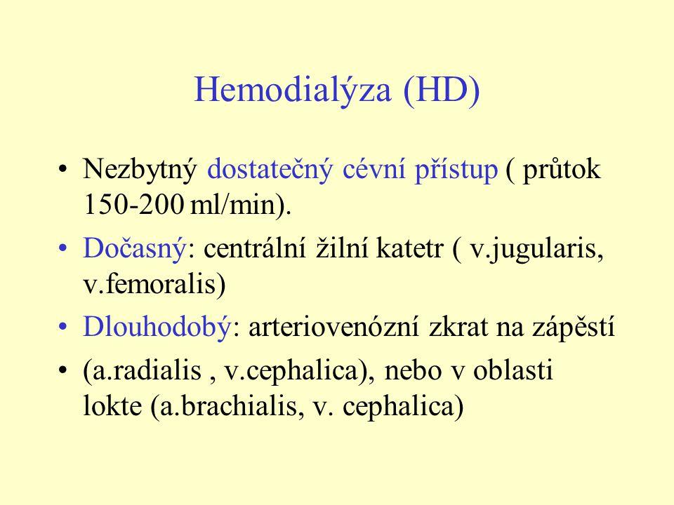 Hemodialýza (HD) Nezbytný dostatečný cévní přístup ( průtok 150-200 ml/min). Dočasný: centrální žilní katetr ( v.jugularis, v.femoralis) Dlouhodobý: a