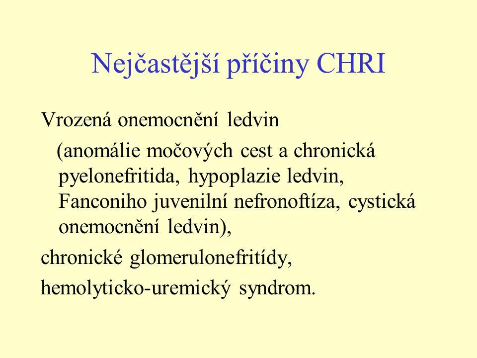 Nejčastější příčiny CHRI Vrozená onemocnění ledvin (anomálie močových cest a chronická pyelonefritida, hypoplazie ledvin, Fanconiho juvenilní nefronof
