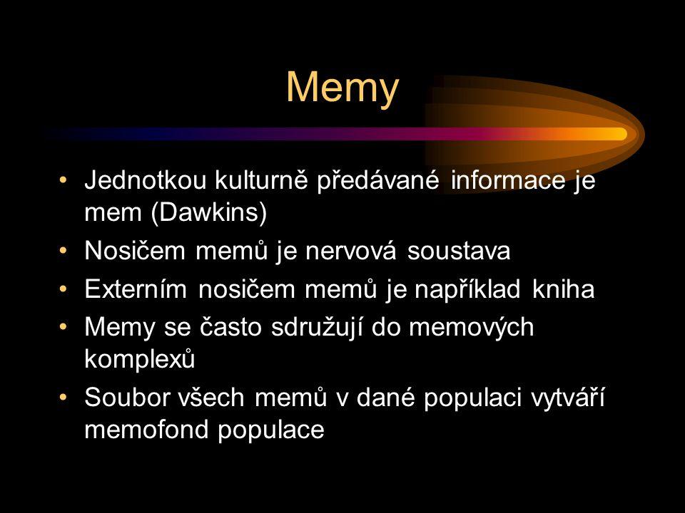 Memy Jednotkou kulturně předávané informace je mem (Dawkins) Nosičem memů je nervová soustava Externím nosičem memů je například kniha Memy se často sdružují do memových komplexů Soubor všech memů v dané populaci vytváří memofond populace