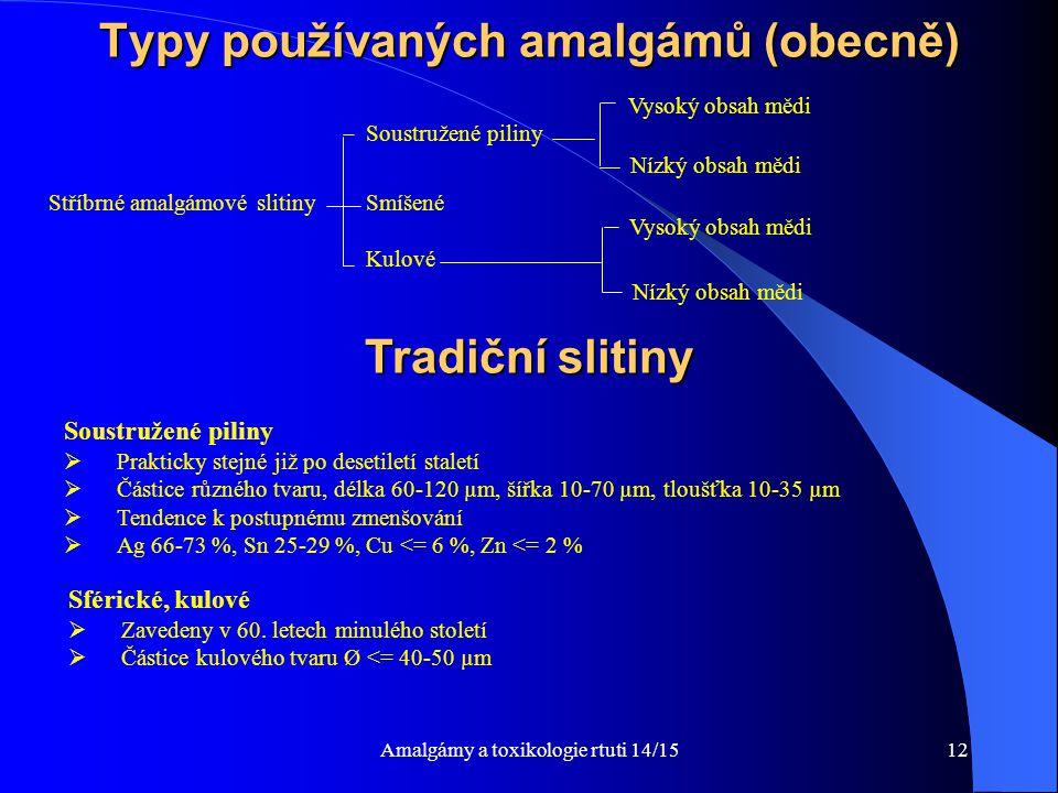 Amalgámy a toxikologie rtuti 14/1512 Typy používaných amalgámů (obecně) Stříbrné amalgámové slitiny Vysoký obsah mědi Soustružené piliny Smíšené Kulov