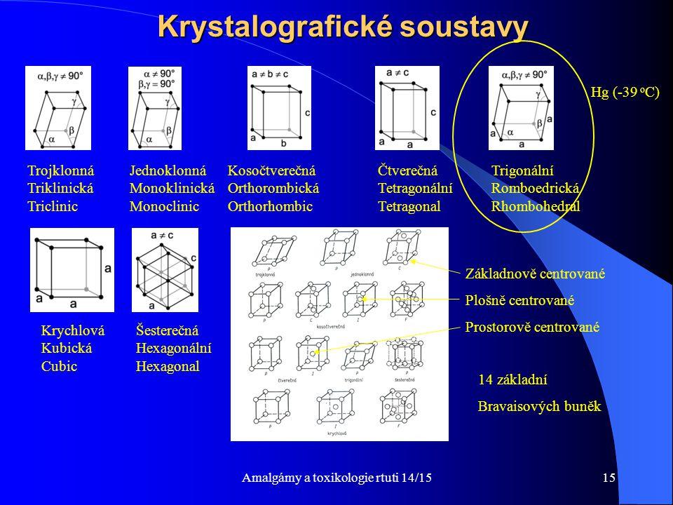 Amalgámy a toxikologie rtuti 14/1515 Krystalografické soustavy Šesterečná Hexagonální Hexagonal Krychlová Kubická Cubic Kosočtverečná Orthorombická Or
