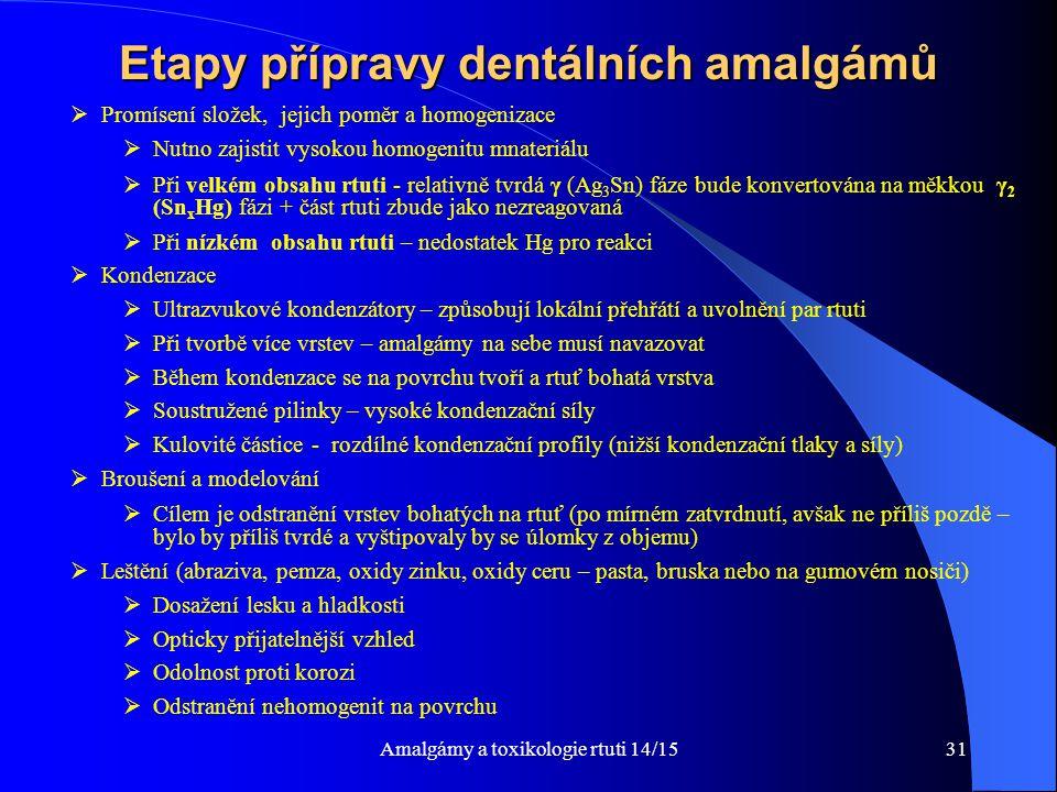 Amalgámy a toxikologie rtuti 14/1531 Etapy přípravy dentálních amalgámů  Promísení složek, jejich poměr a homogenizace  Nutno zajistit vysokou homog