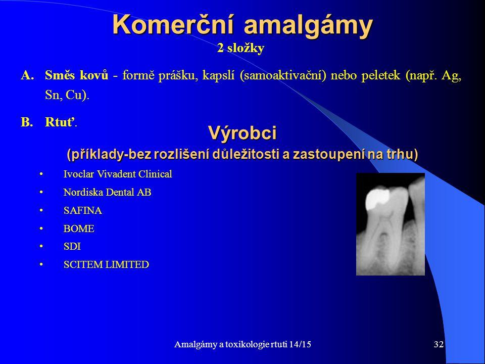 Amalgámy a toxikologie rtuti 14/1532 Komerční amalgámy 2 složky A.Směs kovů - formě prášku, kapslí (samoaktivační) nebo peletek (např. Ag, Sn, Cu). B.