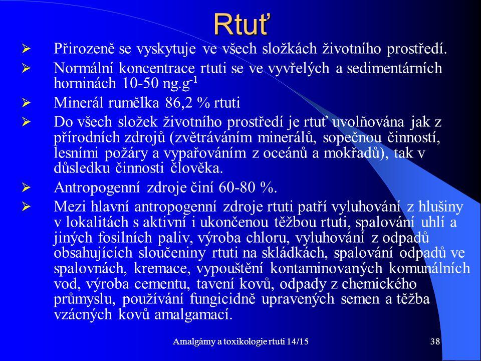 Amalgámy a toxikologie rtuti 14/1538Rtuť  Přirozeně se vyskytuje ve všech složkách životního prostředí.  Normální koncentrace rtuti se ve vyvřelých