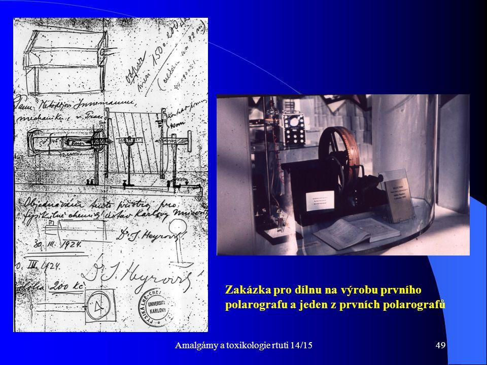Amalgámy a toxikologie rtuti 14/1549 Zakázka pro dílnu na výrobu prvního polarografu a jeden z prvních polarografů