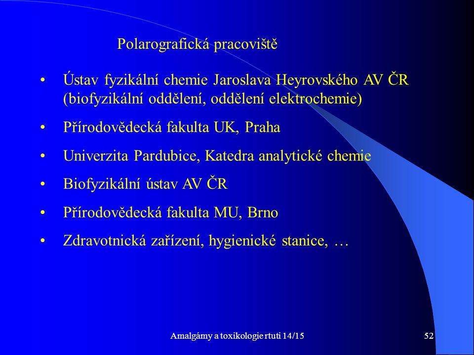 Amalgámy a toxikologie rtuti 14/1552 Ústav fyzikální chemie Jaroslava Heyrovského AV ČR (biofyzikální oddělení, oddělení elektrochemie) Přírodovědecká