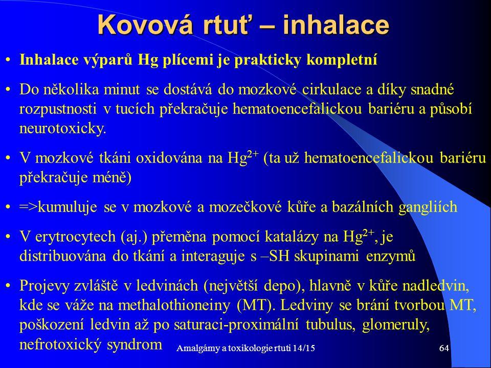 Amalgámy a toxikologie rtuti 14/1564 Kovová rtuť – inhalace Inhalace výparů Hg plícemi je prakticky kompletní Do několika minut se dostává do mozkové