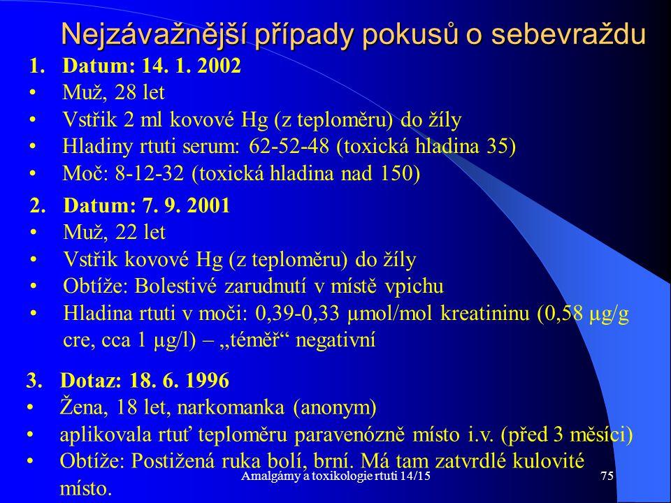 Amalgámy a toxikologie rtuti 14/1575 Nejzávažnější případy pokusů o sebevraždu 1.Datum: 14. 1. 2002 Muž, 28 let Vstřik 2 ml kovové Hg (z teploměru) do