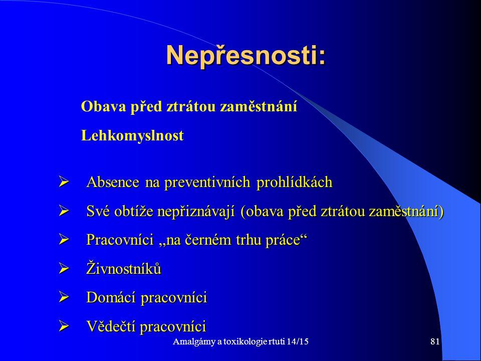 Amalgámy a toxikologie rtuti 14/1581 Nepřesnosti:  Absence na preventivních prohlídkách  Své obtíže nepřiznávají (obava před ztrátou zaměstnání)  P
