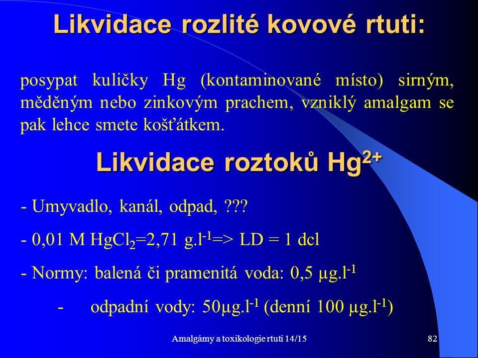 Amalgámy a toxikologie rtuti 14/1582 Likvidace rozlité kovové rtuti: posypat kuličky Hg (kontaminované místo) sirným, měděným nebo zinkovým prachem, v