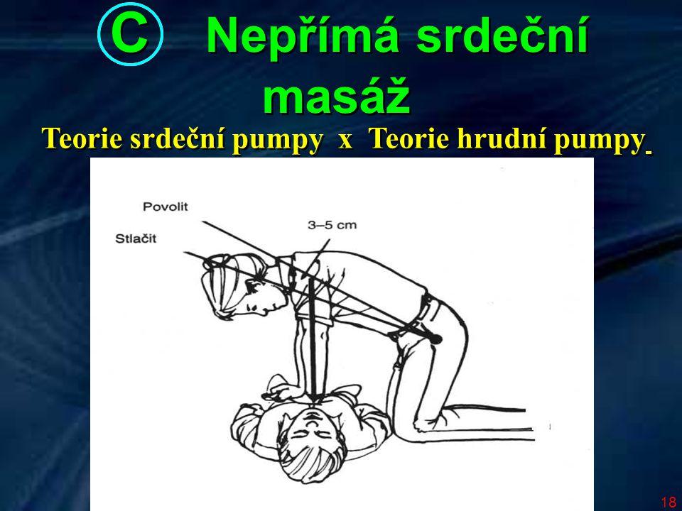 18 Teorie srdeční pumpy x Teorie hrudní pumpy C Nepřímá srdeční masáž C Nepřímá srdeční masáž
