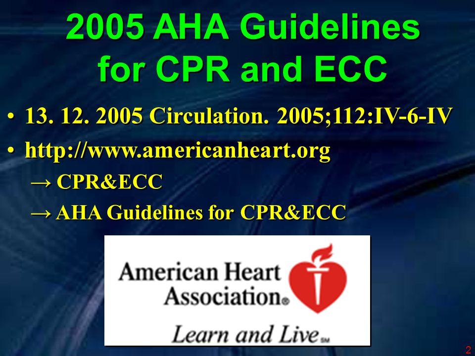 3 založeny na dosud nejrozsáhlejším prozkoumání literatury o resuscitaci 281 expertů 36 měsíců založeny na dosud nejrozsáhlejším prozkoumání literatury o resuscitaci 281 expertů 36 měsíců 2005 AHA Guidelines for CPR and ECC