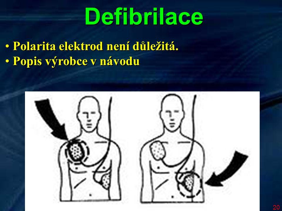20 Defibrilace Polarita elektrod není důležitá. Popis výrobce v návodu Polarita elektrod není důležitá. Popis výrobce v návodu