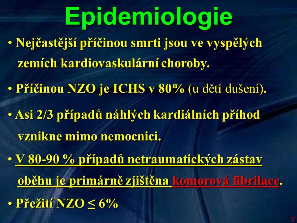 7 Epidemiologie Nejčastější příčinou smrti jsou ve vyspělých zemích kardiovaskulární choroby. Příčinou NZO je ICHS v 80% (u dětí dušení). Asi 2/3 příp