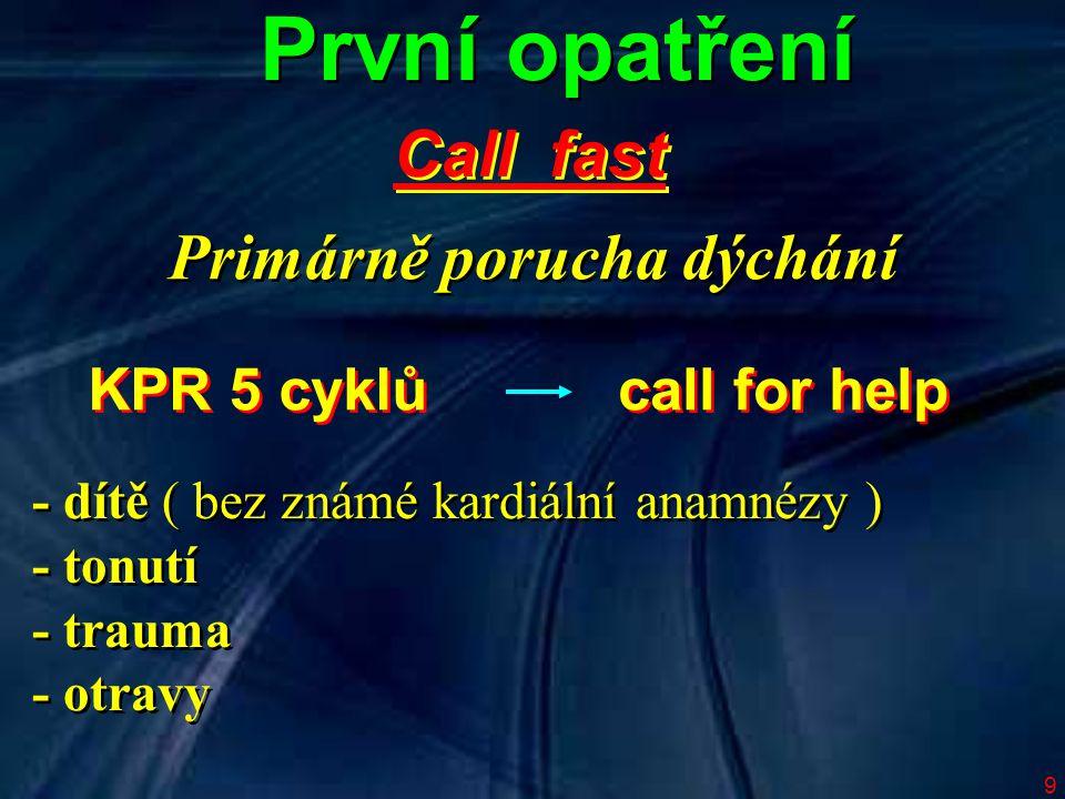 9 - dítě ( bez známé kardiální anamnézy ) - tonutí - trauma - otravy - dítě ( bez známé kardiální anamnézy ) - tonutí - trauma - otravy KPR 5 cyklů call for help První opatření Call fast Primárně porucha dýchání