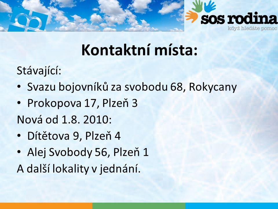 Kontaktní místa: Stávající: Svazu bojovníků za svobodu 68, Rokycany Prokopova 17, Plzeň 3 Nová od 1.8.