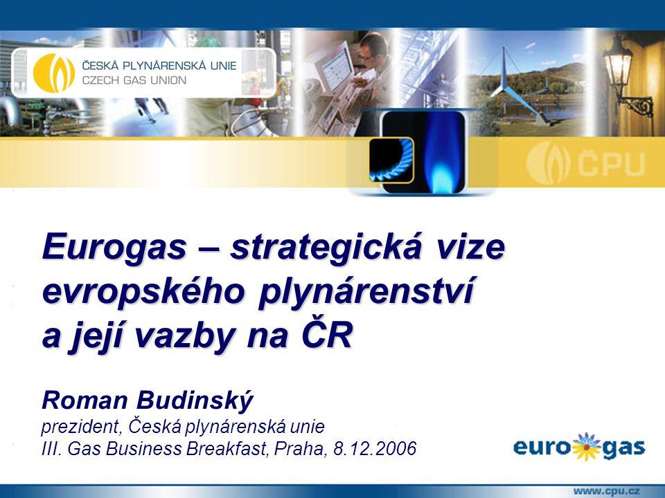 Eurogas – strategická vize evropského plynárenství a její vazby na ČR Roman Budinský prezident, Česká plynárenská unie III.