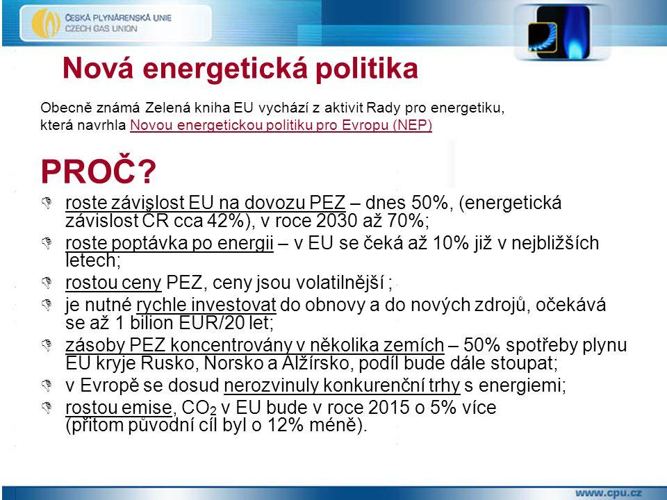 Nová energetická politika Obecně známá Zelená kniha EU vychází z aktivit Rady pro energetiku, která navrhla Novou energetickou politiku pro Evropu (NE