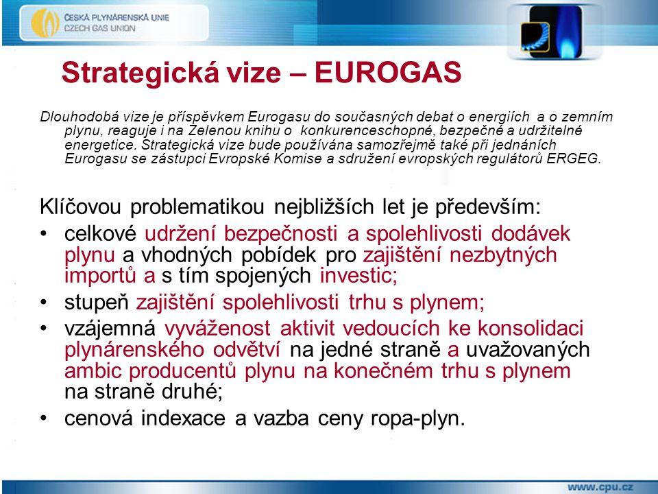 Strategická vize – EUROGAS Dlouhodobá vize je příspěvkem Eurogasu do současných debat o energiích a o zemním plynu, reaguje i na Zelenou knihu o konkurenceschopné, bezpečné a udržitelné energetice.