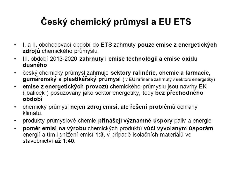 """ÚČEL, CÍL A ROZSAH DOPADOVÉ STUDIE uplatnění efektivní obhajoby zájmů českého chemického průmyslu aktuální stav a výhled vývoje emisí relevantních skleníkových plyn očekávané přímé i nepřímé dopady """"balíčku na českou chemii očekávané přímé náklady na nákup povolenek odhad nepřímých nákladů skrytých ve vyvolaném nárůstu cen elektrické energie a tepla další dopady na konkurenceschopnost podniků českého chemického průmyslu, scénáře náběhu povinného nákupu povolenek formou aukcí pro období 2013 – 2020, vyřazení malých zdrojů emisí z EU ETS výjimky pro vybrané energeticky náročné obory, uplatnění bezplatných alokací na základě referenčních úrovní nejlepších dostupných technik (benchmarkingu),"""
